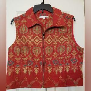 CAbi Brocade Tapestry ZipVest L